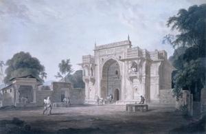 Gate Leading to a Mosque, Chunargarh, Uttar Pradesh (Coloured Aquatint) by Thomas Daniell
