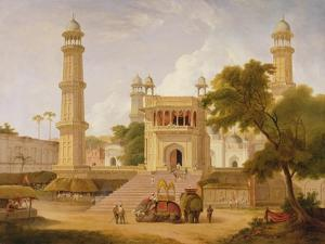Indian Temple, Said to Be the Mosque of Abo-Ul-Nabi, Muttra, 1827 by Thomas Daniell