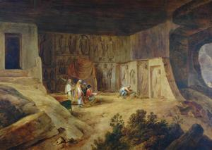 Inside Of Kanaree Cave At Salsette, 1827 by Thomas Daniell