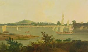 Pinnace Sailing Down the Ganges Past Monghyr Fort, c.1791 by Thomas Daniell