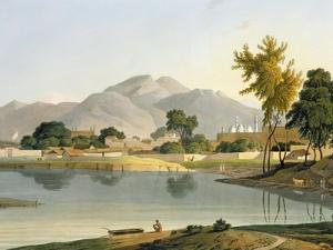 View at Nijeibabad, near the Coaduwar Gaut, Rohilcund, plate XIII from Part 6 of 'Oriental Scenery' by Thomas Daniell
