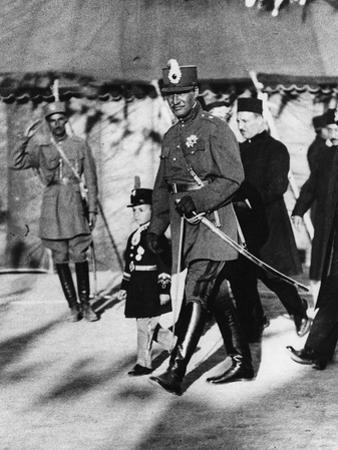 Shah Pahlavi of Persia with His Son the Crown Prince, April, 1926