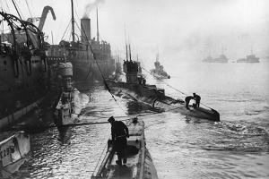Submarines Leaving the Ship Depot at Harwich by Thomas E. & Horace Grant