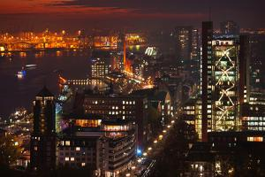 Evening Mood in the Metropolis of Hamburg on the Elbe River by Thomas Ebelt