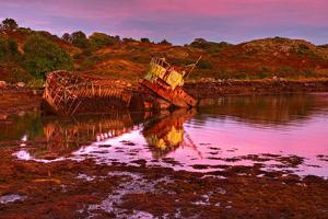 Ireland, Island Garinish, Castletownbere, Shipwreck, Evening Light by Thomas Ebelt