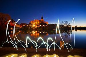 Light Painting at M?llner Town Lake, Evening by Thomas Ebelt