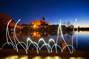 Light Painting at Mšllner Town Lake, Evening by Thomas Ebelt