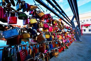 Love Locks at the Railing of the TravebrŸcke in LŸbeck by Thomas Ebelt