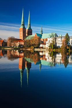 Mill Pond in L?beck, Cathedral, Reflexion by Thomas Ebelt
