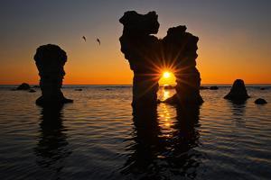 Raukarfelsen Rocks on the Island Farš Near Gotland, Sweden, Silhouette, Sundown by Thomas Ebelt