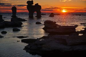 Stacks on the Island Far? Close Gotland, Sweden, Silhouette, Sundown by Thomas Ebelt