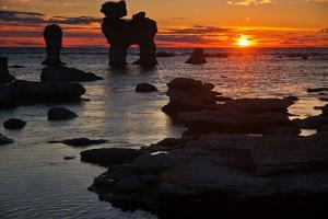 Stacks on the Island Farš Close Gotland, Sweden, Silhouette, Sundown by Thomas Ebelt