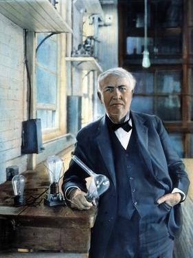 Thomas Edison (1847-1931). Photographed With His 'Edison Effect' Lamps in 1915