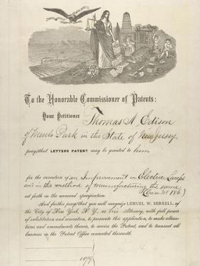 Thomas Edison's Patent Application