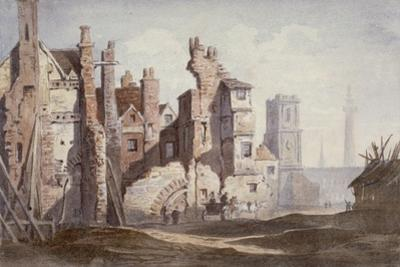 Demolition of Old Houses Near Walbrook to Make Way for King William Street, City of London, 1834