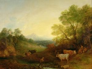 A Landscape with Cattle and Figures by a Stream and a Distant Bridge, c.1772-4 by Thomas Gainsborough