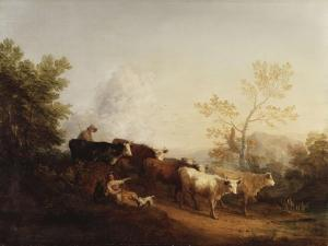 Evening; a Landscape with Cattle Returning Home by Thomas Gainsborough