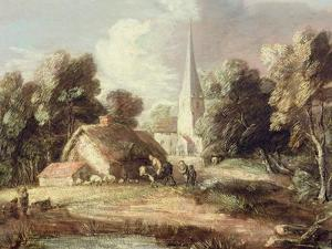 Landscape with a Church, Cottage, Villagers and Animals, C.1771-2 by Thomas Gainsborough