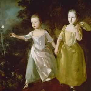 The Painter's Daughters Chasing a Butterfly. Probably About 1756 by Thomas Gainsborough