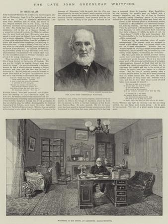 The Late John Greenleaf Whittier by Thomas Harrington Wilson