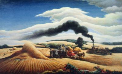 Threshing Wheat by Thomas Hart Benton