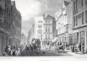 Aldgate, from 'London and it's Environs in the Nineteenth Century' Pub. Jones and Co., 1827-1829 by Thomas Hosmer Shepherd