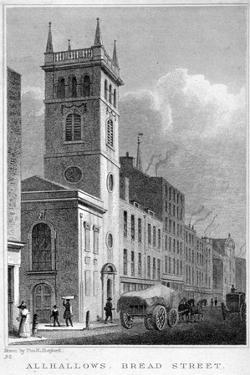 All Hallows Church, Bread Street, London, 1829 by Thomas Hosmer Shepherd