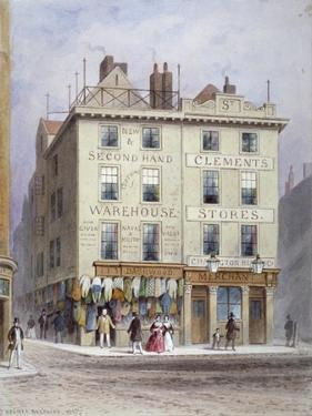 Clement's Stores at the Junction of Holywell Street and Wych Street, Westminster, London, 1855 by Thomas Hosmer Shepherd