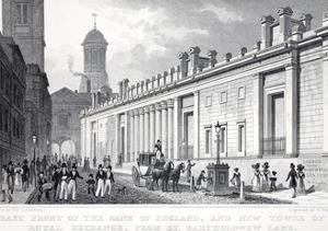 East Front of the Bank of England and New Tower of the Royal Exchange from St Bartholomew Bank by Thomas Hosmer Shepherd