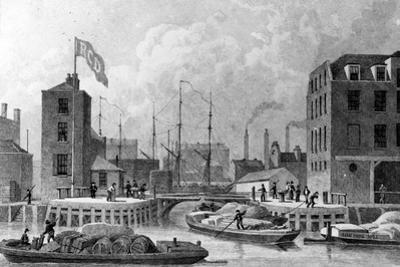 Entrance to the Regent's Canal, Limehouse, Engraved by F. J. Havell, 1828 by Thomas Hosmer Shepherd