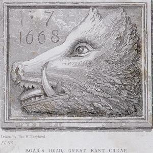 Inn Sign from the Boar's Head Tavern, Eastcheap, London, 1850 by Thomas Hosmer Shepherd