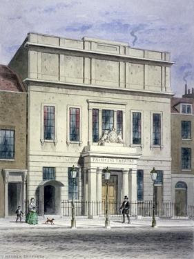 North Front of Princess's Theatre on Eastcastle Street, St Marylebone, London, C1830 by Thomas Hosmer Shepherd