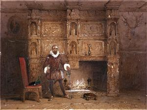Possibly Sir John Spencer in Canonbury House; or Sir Walter Raleigh in the Old Pied Bull Inn, 1849 by Thomas Hosmer Shepherd