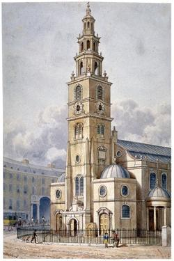 South-West View of the Church of St Clement Danes, Westminster, London, 1814 by Thomas Hosmer Shepherd