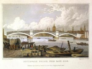Southwark Bridge from Bank Side, London, 1817 by Thomas Hosmer Shepherd