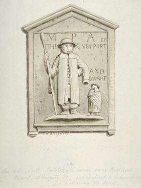 Tablet on a House over Bull Head Court, Newgate Street, City of London, 1840 by Thomas Hosmer Shepherd