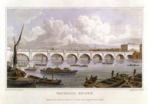 Waterloo Bridge, London, across the Thames, 1817 by Thomas Hosmer Shepherd