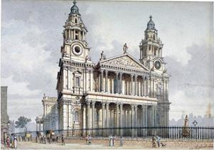West Front of St Paul's Cathedral, City of London, 1814 by Thomas Hosmer Shepherd