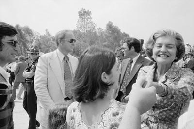 First Lady Betty Ford shakes hands at a campaign stop in the South, 1976