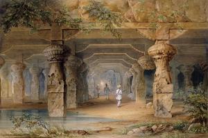 The Interior of the Great Cave, Elephanta, Bombay, 19th Century (Pencil, W/C) by Thomas J. Rawlins