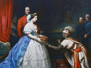 Queen Victoria Presenting a Bible in the Audience Chamber at Windsor, C1861 by Thomas Jones Barker