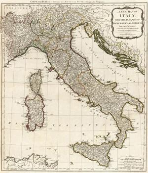 New Map of Italy with the Islands of Sicily, Sardinia and Corsica, c.1790 by Thomas Kitchin