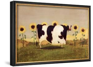 Cow With Sunflowers by Thomas LaDuke