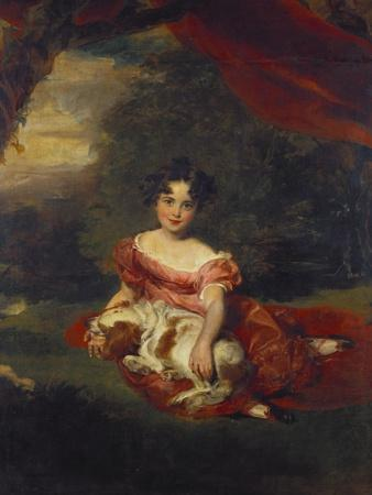 Portrait of Miss Julia Beatrice Peel Seated Full Length Wearing a Pink Dress with a Sash and…