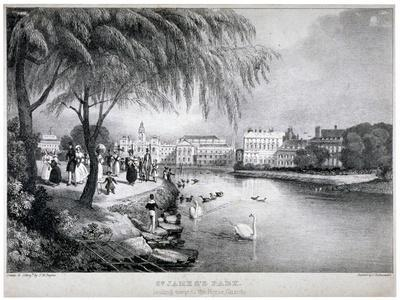 View of St James's Park and Buckingham Palace, Westminster, London, C1830