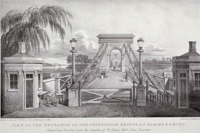View of the Entrance to the Suspension Bridge at Hammersmith..., London, 1827