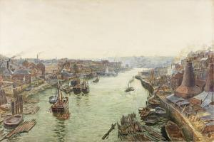 Sunderland, Holmes Wharf (Watercolour (Heightened with White) and Scratching Out on Paper) by Thomas Marie Madawaska Hemy