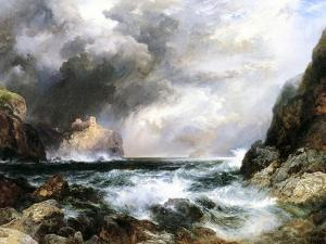 Castle in Scotland, 1910 (Oil on Board) by Thomas Moran