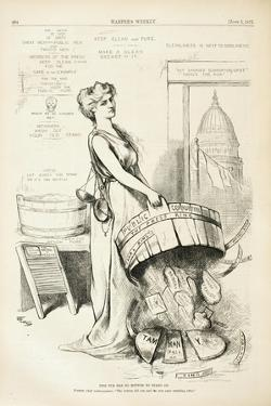 This Tub Has No Bottom to Stand On, 1875 by Thomas Nast