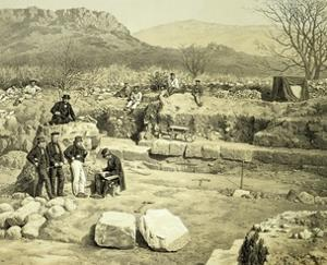 Lithograph of the Excavation of the Temple of Mars by Thomas Picken